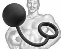 Tom of Finland Silicone Cock Ring with Heavy Anal Ball