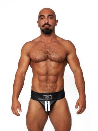 Mister B Leather Premium Jockstrap Black-White